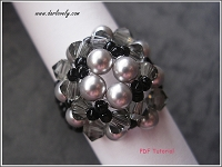 Grey Pearl Crystal Square Ring