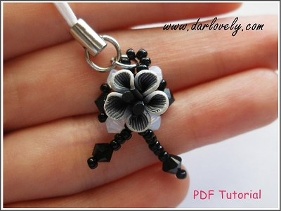 Black Flower Ribbon Charm Tutorial - Free