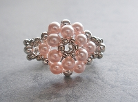 Round Pink Pearl Metal Flower Ring Tutorial