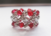 Red Grey Pearl Metal Cuff Ring Tutorial