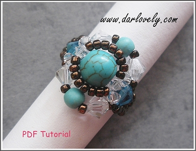Crystal Turquoise Round Ring