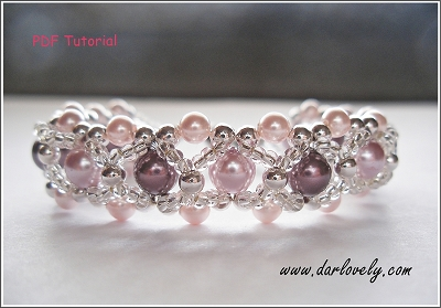 Pink Purple Pearl Metal Bracelet