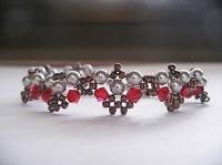 Silver Pearl Red Bronze Bracelet Tutorial