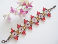 Golden Pearl Red Superduo Bracelet Tutorial