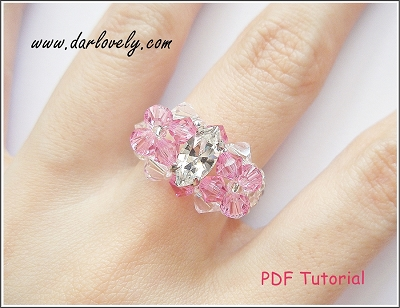 Crystal Navette Twin Pink Flowers Ring