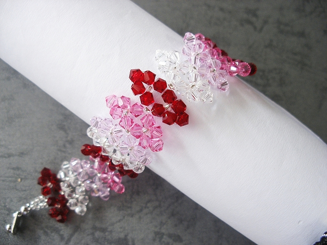 3390c9eaad8f6 Red Pink Crystal Leaf Bracelet Tutorial