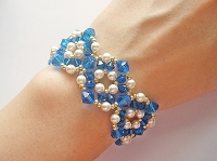 Golden Blue Pearl Round Bracelet Tutorial