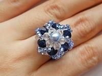 Blue Round Button Ring