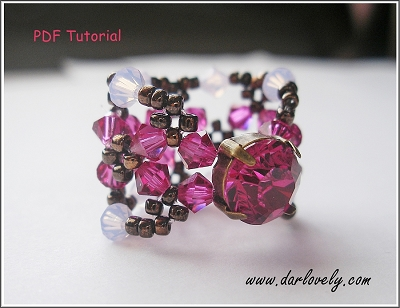 Chaton Flower Cuff Ring