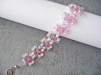 Rose Crystal Square Flower Bracelet Tutorial