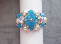 Blue Opal Cream Pearl Metal Ring Tutorial