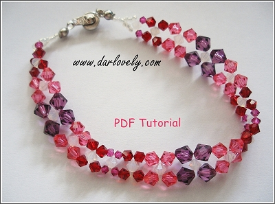 Free Purple Pink Red Bracelet Tutorial