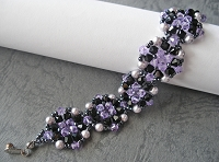 Black Purple Pearl Round Bracelet Tutorial