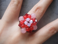 Red Ruby Rose Quartz Flower Ring Tutorial