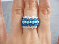 Turquoise Blue Opal Flowers Cuff Ring Tutorial