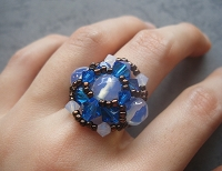 White Opal Blue Round Ring Tutorial