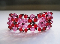 Red Rose Double Flower Bracelet Tutorial