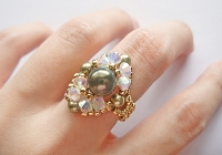 Golden Green Pearl Oval Ring Tutorial