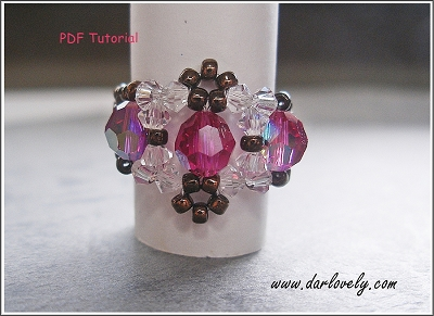 Fuchsia Crystal Lace Ring