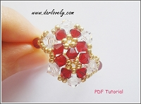 Red Golden Spiral Flowers Ring Tutorial
