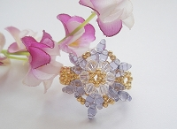 Purple Superduo Flower Crystal Ring Tutorial