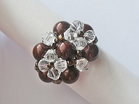 Crystal Twin Flower Copper Pearl Ring Tutorial