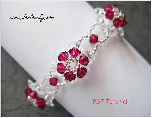Ruby Crystal Flower Bracelet Tutorial