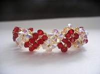 Red Crystal Flower Bracelet Tutorial