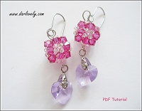 Dangling Fuchsia Heart Earrings Tutorial