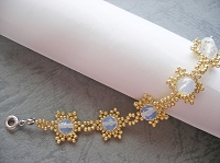 Golden Snowflake Moonstone Bracelet Tutorial