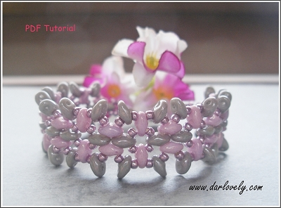 Sweet Pink Grey Superduo Bracelet Tutorial