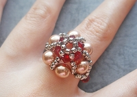 Red Golden Pearl Metal Flower Ring Tutorial