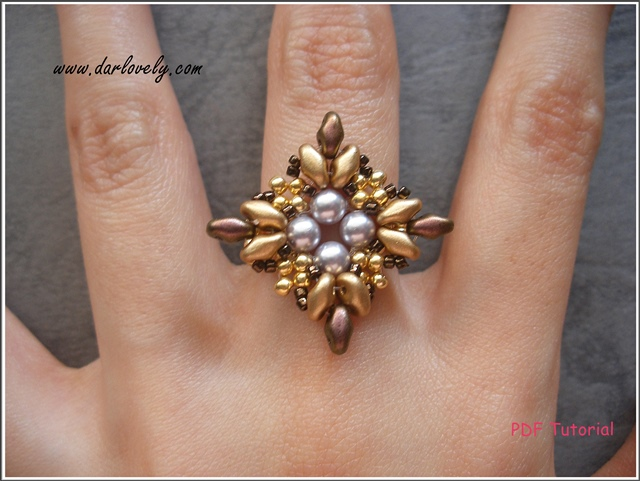 gold silver copper superduo ring tutorial