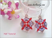Red Purple Superduo Flower Earrings Tutorial