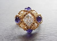 Crystal Pearl Purple Square Ring Tutorial