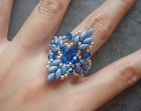 Superduo Blue Leaves Ring Tutorial