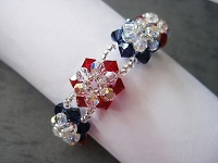 Red Blue 3-D Flower Bracelet Tutorial