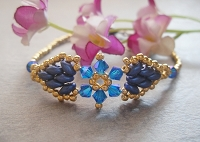 Golden Superduo Blue Flower Bracelet Tutorial