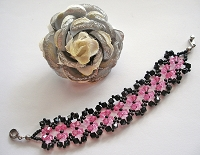 Black Rose Flower Bracelet Tutorial