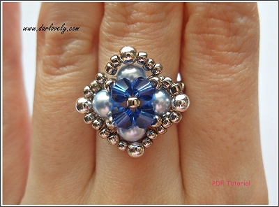 Blue Pearl Metal Square Ring