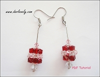 Long Red Cube Earrings Tutorial