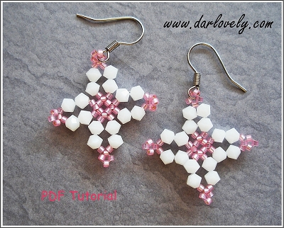Free Pink White Cross Earrings Tutorial