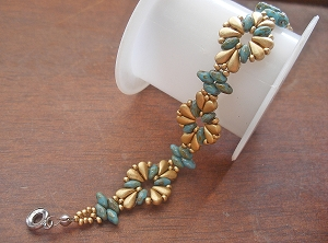 Golden Round Flower Duos  Bracelet Tutorial