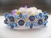 Blue Pearl Wavy Superduo Bracelet Tutorial