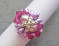 Pearly Pink Purple Superduo Ring Tutorial