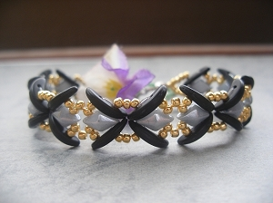 Black Crescent Criss Cross Bracelet Tutorial