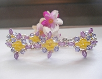 Purple Yellow Diamond Superduo Bracelet Tutorial