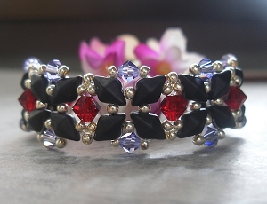 Red Purple Black DiamonDuo Bracelet Tutorial