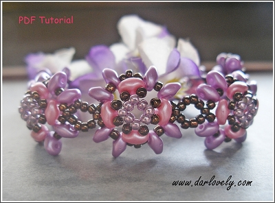 Pink Purple Superduo Flower Bracelet