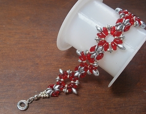 Red Silvery SuperDuo Bracelet Tutorial